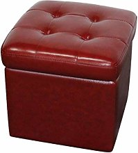 LoveHouse Storage ottoman Cube, Tufted Leather