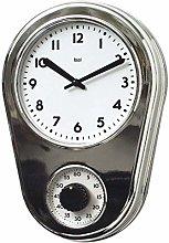 LOVELONG Kitchen Timer Wall Clock Turquoise@Chrome
