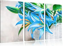 Lovely Blue Flowers in a Basket 3 Piece Graphic