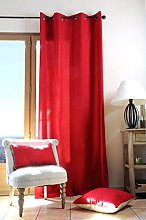 Lovely Casa Cotton Curtain, Red, 240 x 135 cm