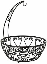 LOVELY Chrome Metal Wire Fruit Bowl with Banana