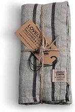 Lovely Linen - Linen Table Napkins in Misty Stripe