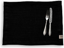 Lovely Linen Placemat - Rustic Raw 40 x 50 - Black