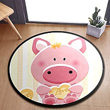 Lovely Piggy With Heart Area Rugs Round Bedroom