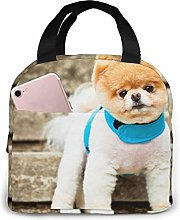 Lovely Puppy Picture Purple Pattern Lunch Bag Tote