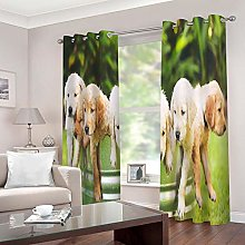 LOVEXOO Blackout Curtains Animal dog drapes for