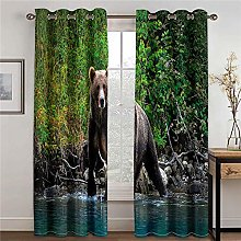 LOVEXOO Blackout Curtains for Bedroom Forest bear