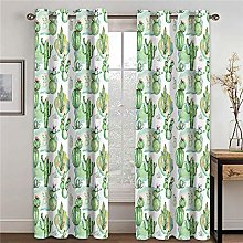 LOVEXOO Blackout Curtains for Bedroom Green cactus