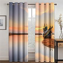 LOVEXOO Blackout Curtains for Bedroom Sailing ship