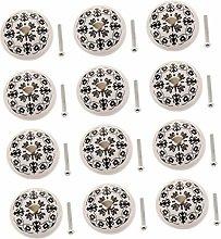 LOVIVER 12 Pieces Black & White Cream Ceramic
