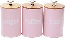 LOVIVER 3X Food Storage Jar, Pink Food Storage Can