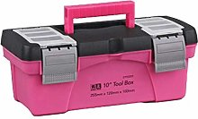 LOVIVER Pink Tool Box with Removable Tool Tray
