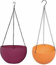 LOVIVER Set of 2 Modern Hanging Basket Planters