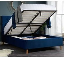 Loxley Blue Velvet Fabric Ottoman Storage Bed