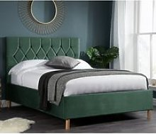 Loxley Fabric Upholstered Double Bed In Green