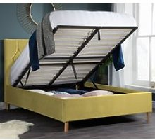 Loxley Mustard Velvet Fabric Ottoman Storage Bed