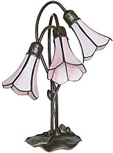 Loxton Lighting 3 Light Lily Table Lamp with Pink
