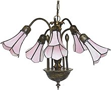Loxton Lighting 5 Light Pendant with Pink Stained