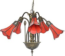 Loxton Lighting 5 Light Pendant with Red Stained