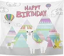 lpaca Happy Birthday Cute Lama Peru Air Balloon