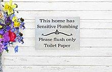 Lplpol Wood Bathroom Sign, This Home Has Sensitive