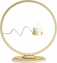 LQKYWNA Round Iron Candle Holder, Nordic style Tea