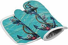LREFON Blue Anchor Coral Wood Oven Gloves and