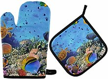 LREFON Oven Mitts Pot Holder Sets - Coral Colony