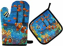 LREFON Oven Mitts Pot Holders Sets - The Coral
