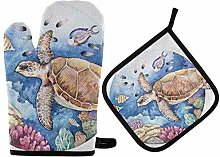 LREFON Oven Mitts Pot Holders Sets - Watercolor