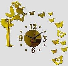 Lrenkey DIY Mirror Wall Clock - Angel Butterfly