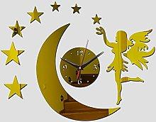 Lrenkey DIY Mirror Wall Clock - Angel Moon Stars