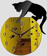 Lrenkey DIY Mirror Wall Clock - Animal Cat Fish