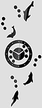 Lrenkey DIY Mirror Wall Clock - Animal Fish Dots