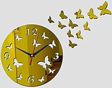 Lrenkey DIY Mirror Wall Clock - Butterfly Disc