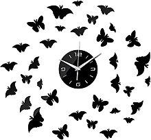 Lrenkey DIY Mirror Wall Clock - Butterfly DIY