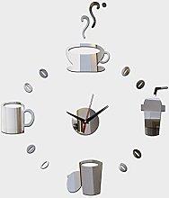 Lrenkey DIY Mirror Wall Clock - Coffee Cup DIY