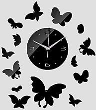 Lrenkey DIY Mirror Wall Clock - Cute Butterfly DIY