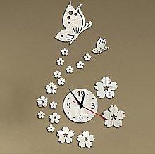 Lrenkey DIY Mirror Wall Clock - Flower Butterfly