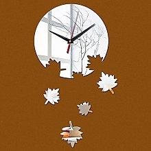 Lrenkey DIY Mirror Wall Clock - Plant Maple Leaf