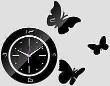 Lrenkey DIY Mirror Wall Clock - Three Butterflies