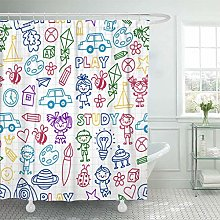 LRSJD Shower Curtain Time to Adventure Imagination