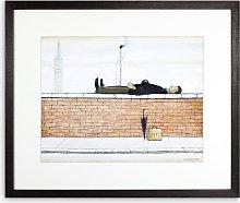 LS Lowry - Man Lying On A Wall 1927 Framed Print &