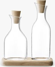 LSA International Serve Oil & Vinegar Glass Bottle Pourers with Oak Wood Base, 300ml, Clear/Natural