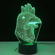 LSDAMN 3D Illusion Lamp Led Night Light Rooster