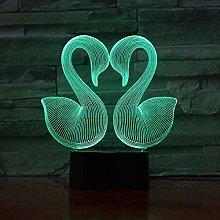 LSDAMN 3D Illusion Lamp Led Night Light Two Swans