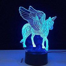 LSDAMN 3D Illusion Lamp Led Night Light Unicorn
