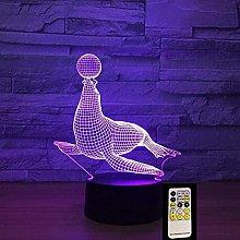 LSDAMN Animal Sea Lion 3D Night Light Illusion