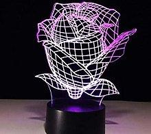 LSDAMN Kids Night Light Plant Rose 3D Optical