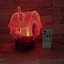 LSDAMN Wooden House Model 3D Night Light Illusion